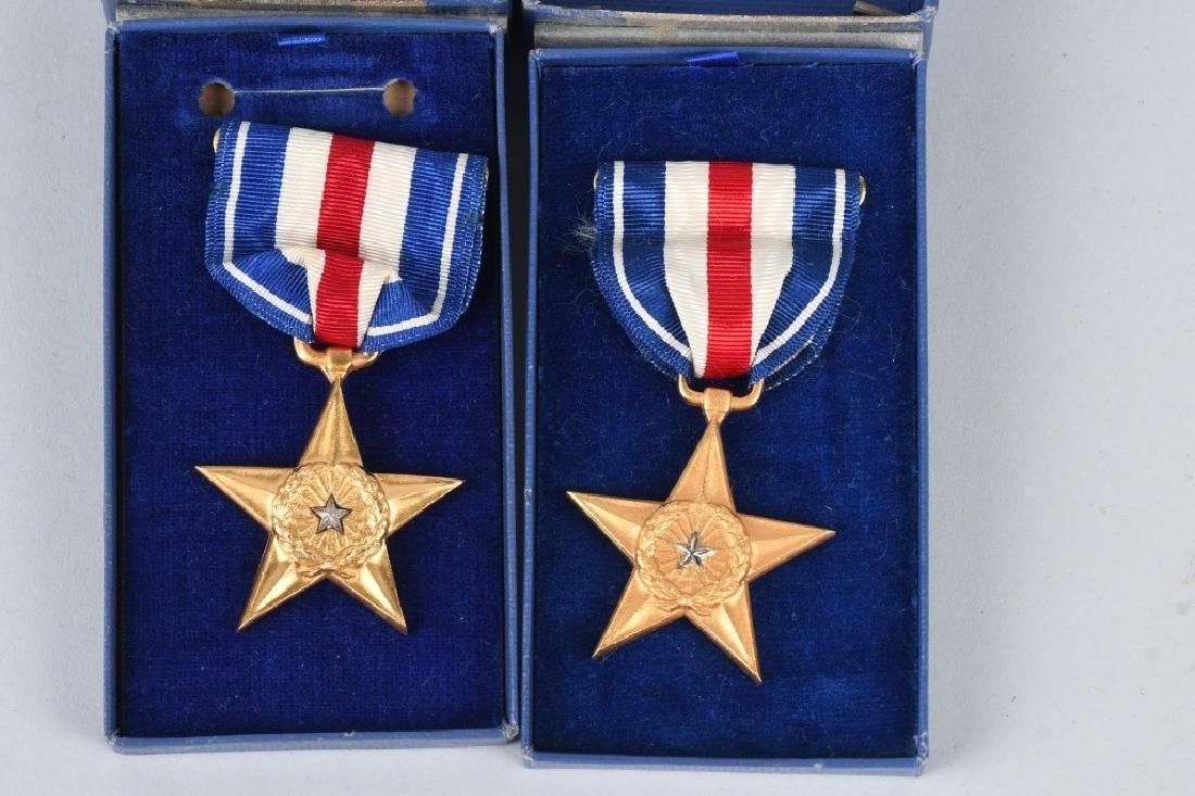 WWII U.S. CASED BRONZE STAR & SLIVER STAR LOT - 4