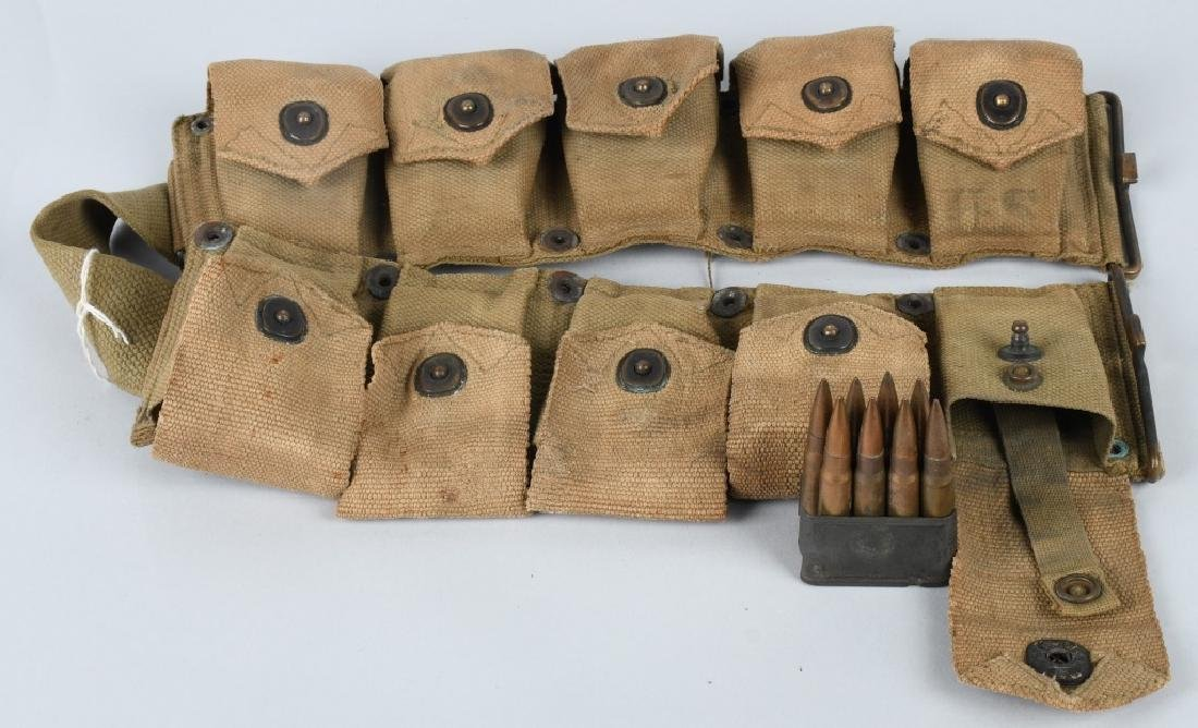 WWII U.S. ARMY AMMUNITION BELT W/ 8 CLIPS .30 CAL - 2