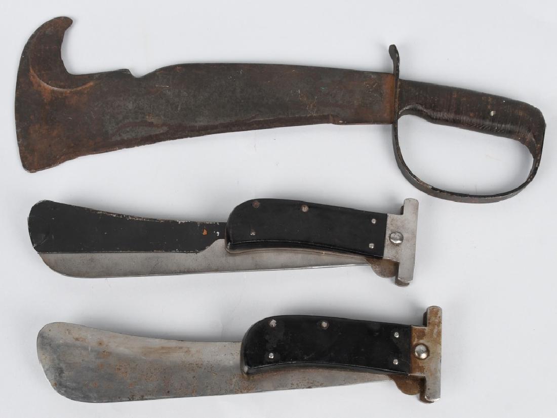 WWII WOODSMAN'S PAL MACHETE & 2 AAF FOLDING KNIVES
