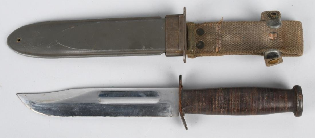 WWII USN MK2 KABAR FIGHTING KNIFE & SHEATH (2) - 2