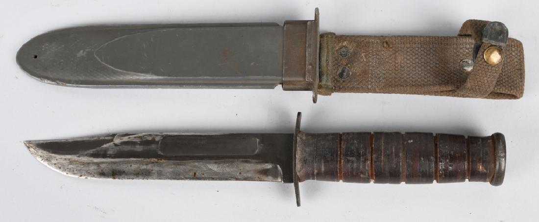 WWII USN MK2 KABAR FIGHTING KNIFE & SHEATH (2) - 4