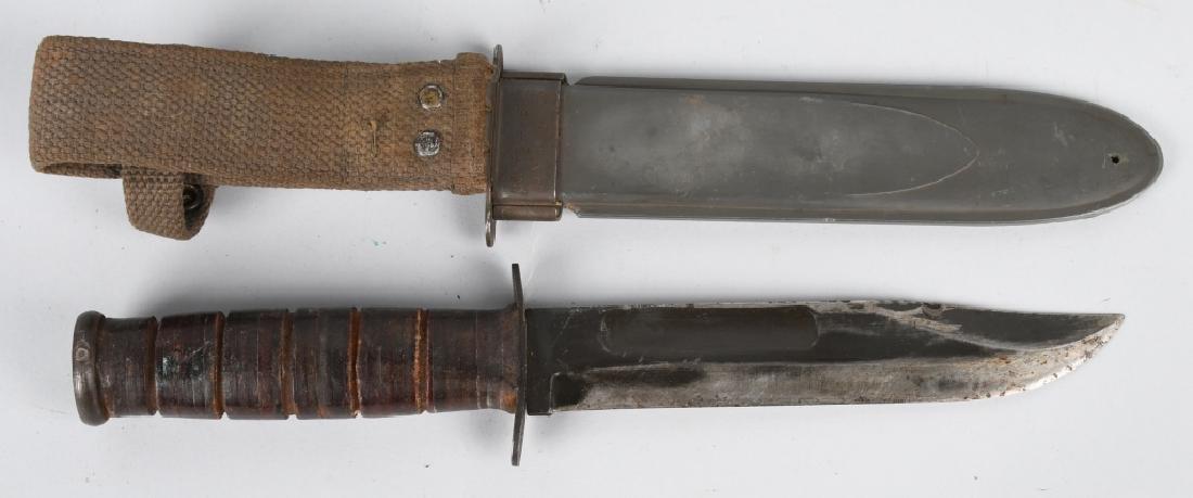 WWII USN MK2 KABAR FIGHTING KNIFE & SHEATH (2) - 5