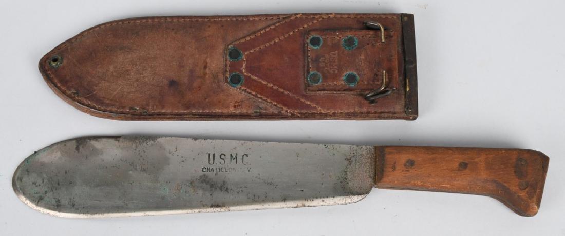 WWII USMC KA-BAR FIGHTING KNIFE AND HOSPITAL BOLO - 2