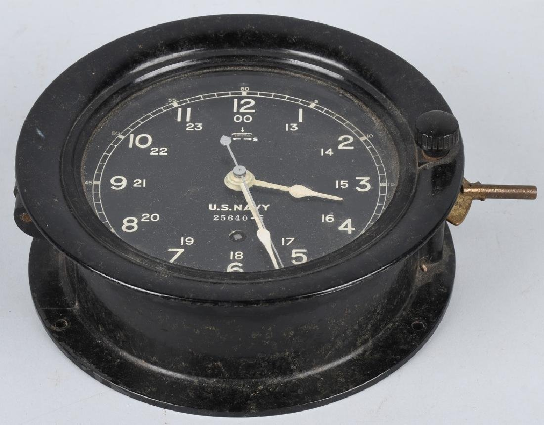 WWII US NAVY SETH THOMAS SHIP CLOCK - 3