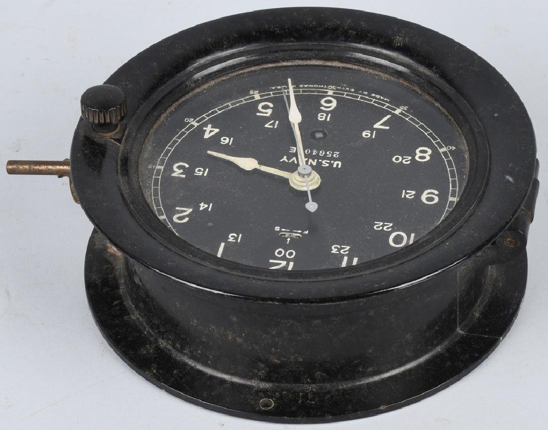 WWII US NAVY SETH THOMAS SHIP CLOCK - 4