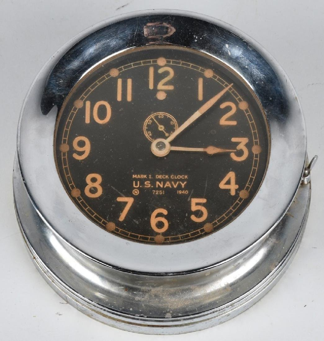 WWII US NAVY 1940 CHELSEA SHIP DECK CLOCK