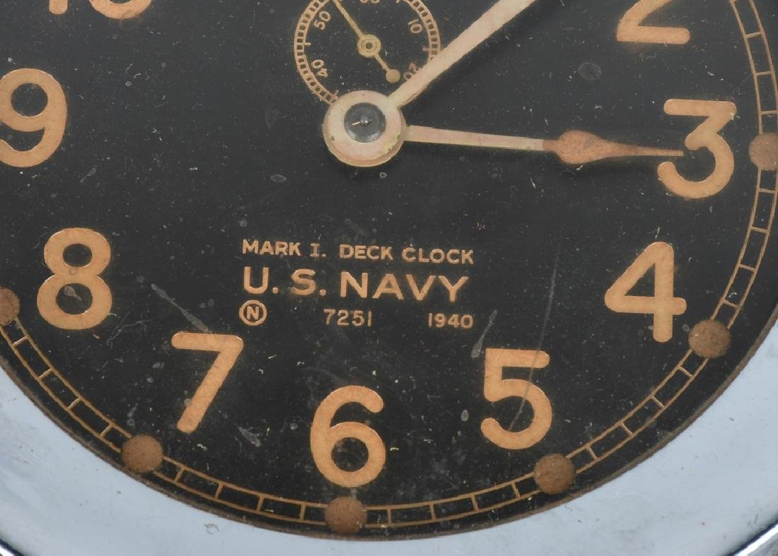 WWII US NAVY 1940 CHELSEA SHIP DECK CLOCK - 2