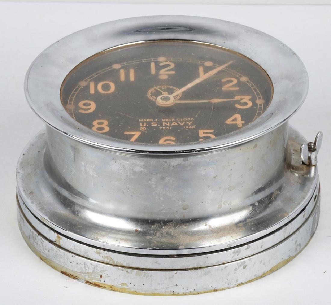 WWII US NAVY 1940 CHELSEA SHIP DECK CLOCK - 3