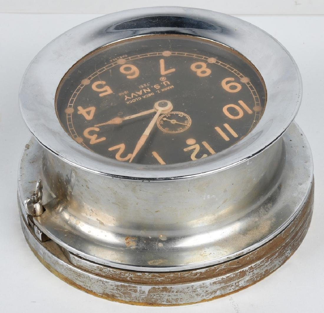 WWII US NAVY 1940 CHELSEA SHIP DECK CLOCK - 5