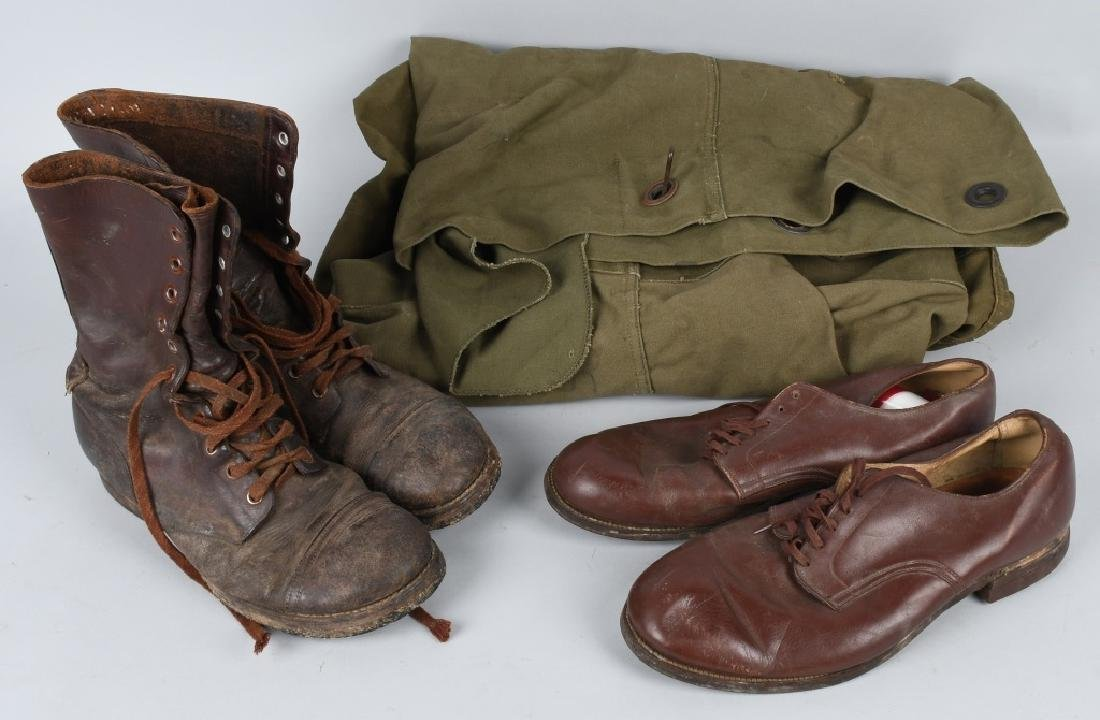 WWII U.S. ARMY BOOTS SHOES & USMC DUFFLE BAG