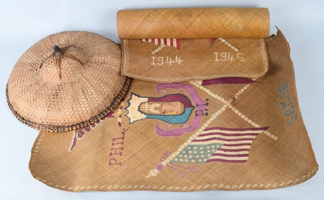 WWII U.S. PHILIPPINES SOUVENIR GRASS MATS & HAT
