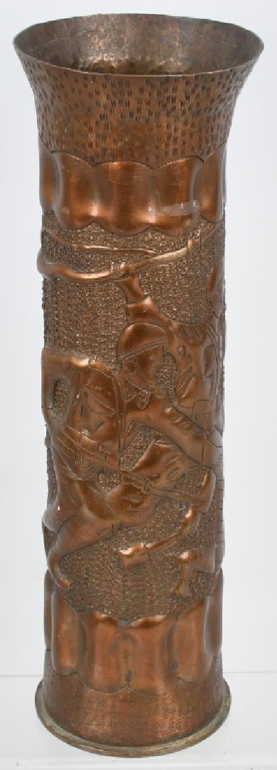 WWII TRENCH ART SHELL - SOLDIERS IN COMBAT