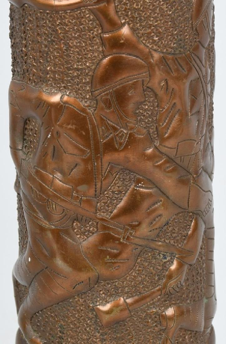 WWII TRENCH ART SHELL - SOLDIERS IN COMBAT - 2