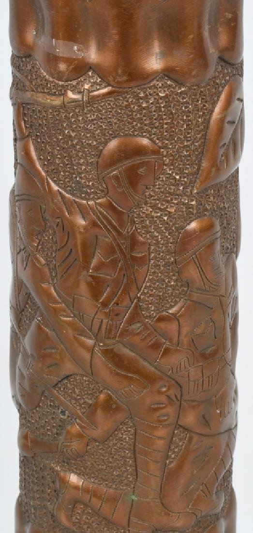 WWII TRENCH ART SHELL - SOLDIERS IN COMBAT - 3