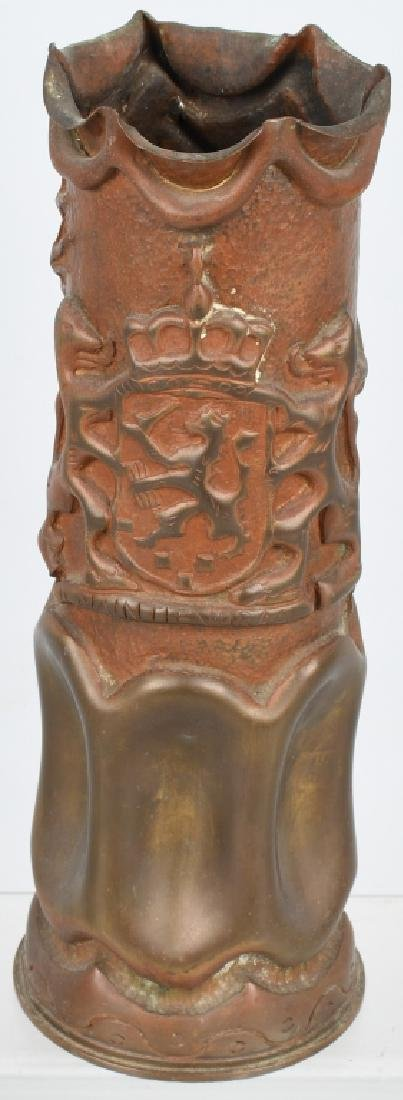 WWII DUTCH TRENCH ART SHELL PRESENTED TO US GI
