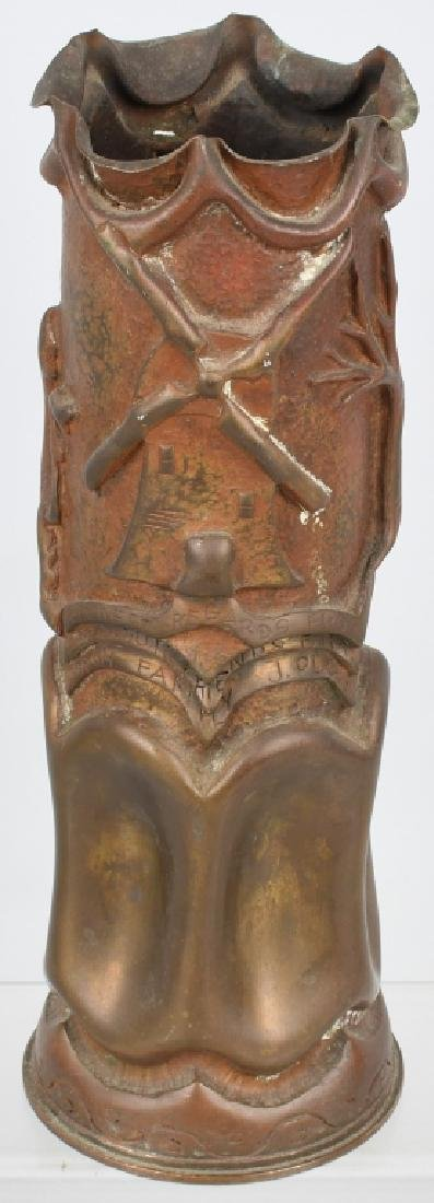 WWII DUTCH TRENCH ART SHELL PRESENTED TO US GI - 6