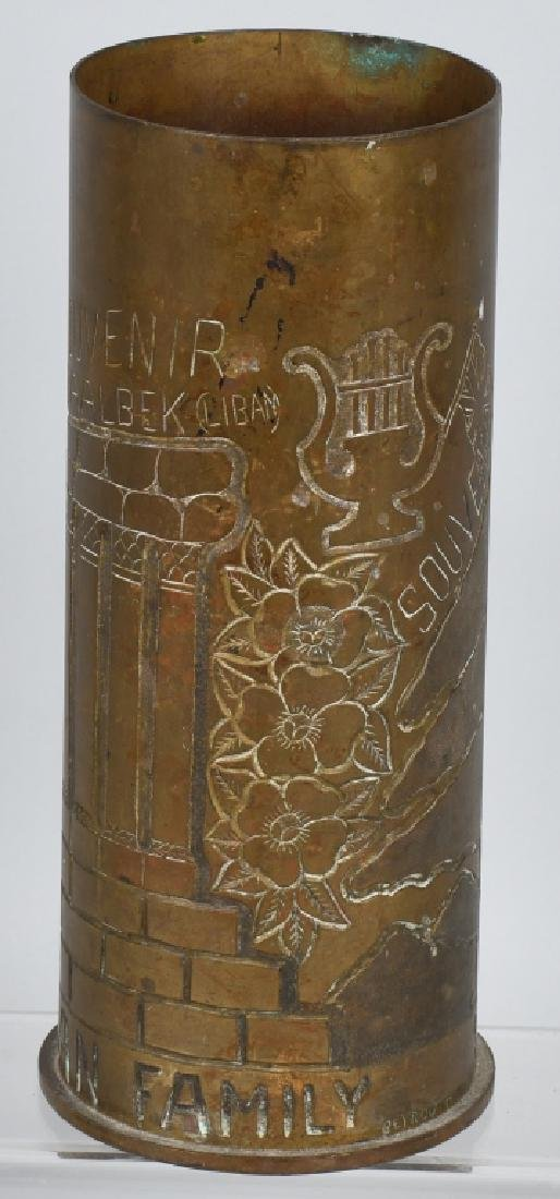 WWII 105MM TRENCH ART SHELL IN FRENCH FROM LEBANON