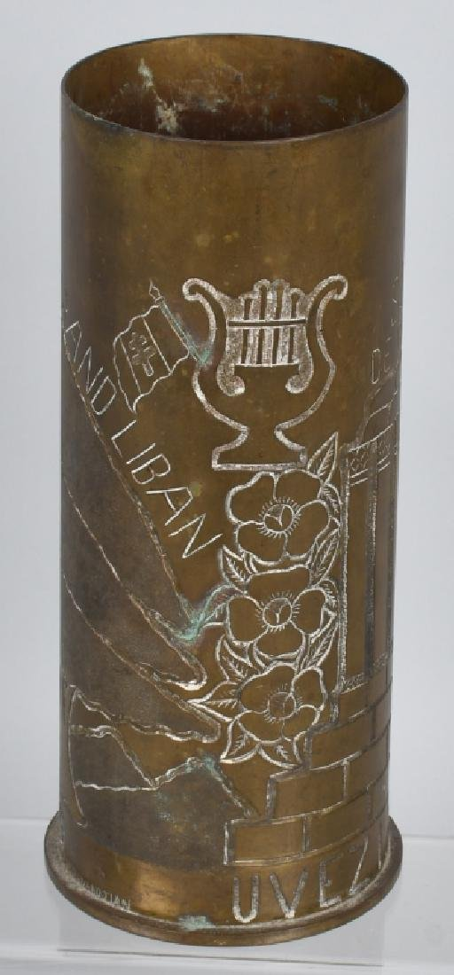 WWII 105MM TRENCH ART SHELL IN FRENCH FROM LEBANON - 7