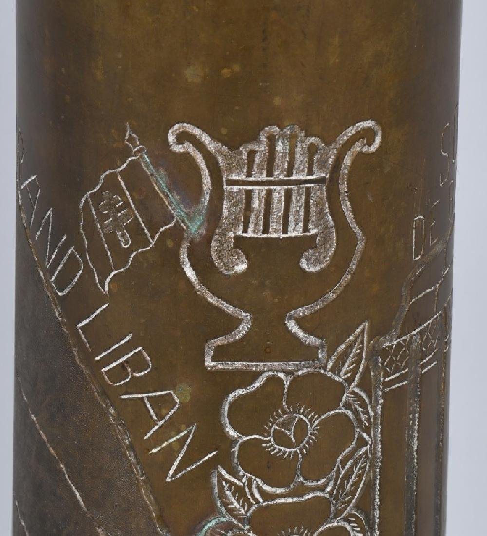 WWII 105MM TRENCH ART SHELL IN FRENCH FROM LEBANON - 8