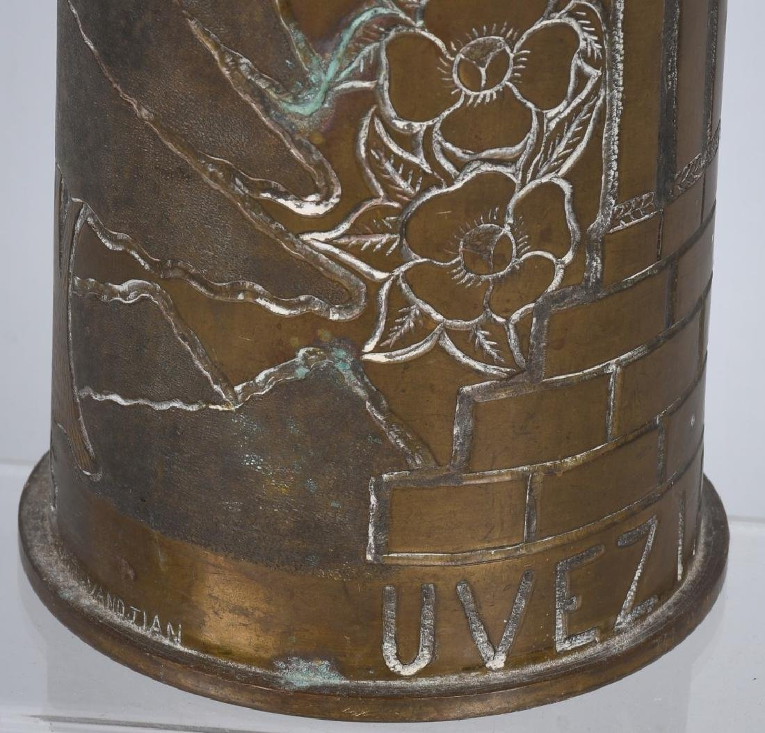 WWII 105MM TRENCH ART SHELL IN FRENCH FROM LEBANON - 9