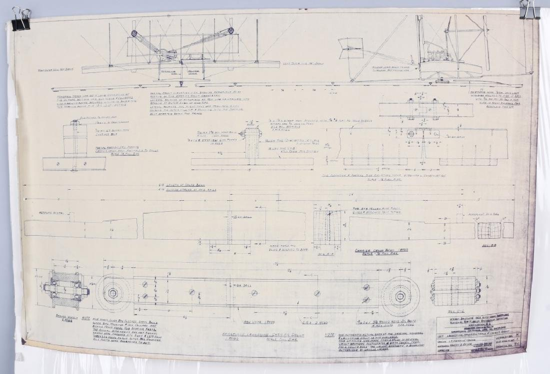WRIGHT BROTHERS 1903 AERO PLANE BLUEPRINTS 1950S - 4