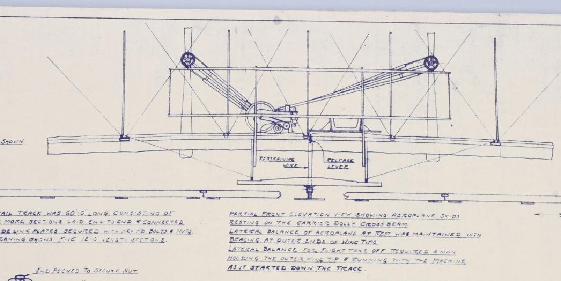 WRIGHT BROTHERS 1903 AERO PLANE BLUEPRINTS 1950S - 5