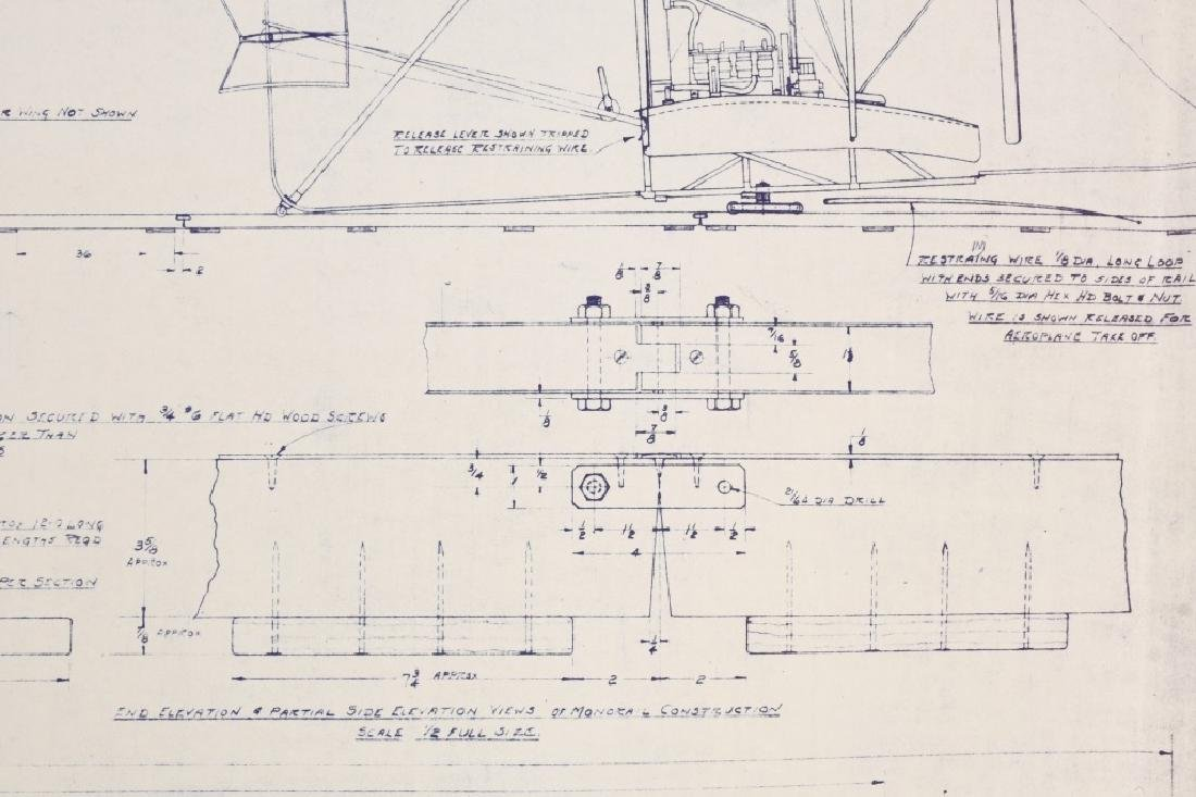 WRIGHT BROTHERS 1903 AERO PLANE BLUEPRINTS 1950S - 7