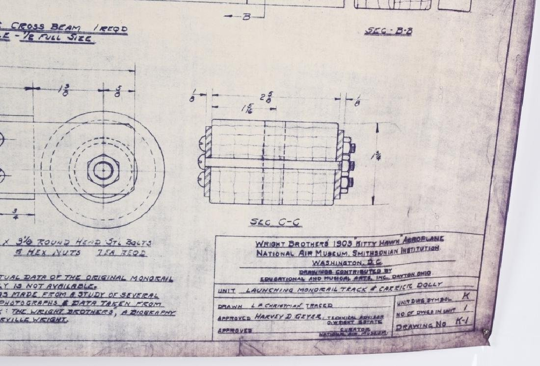 WRIGHT BROTHERS 1903 AERO PLANE BLUEPRINTS 1950S - 8