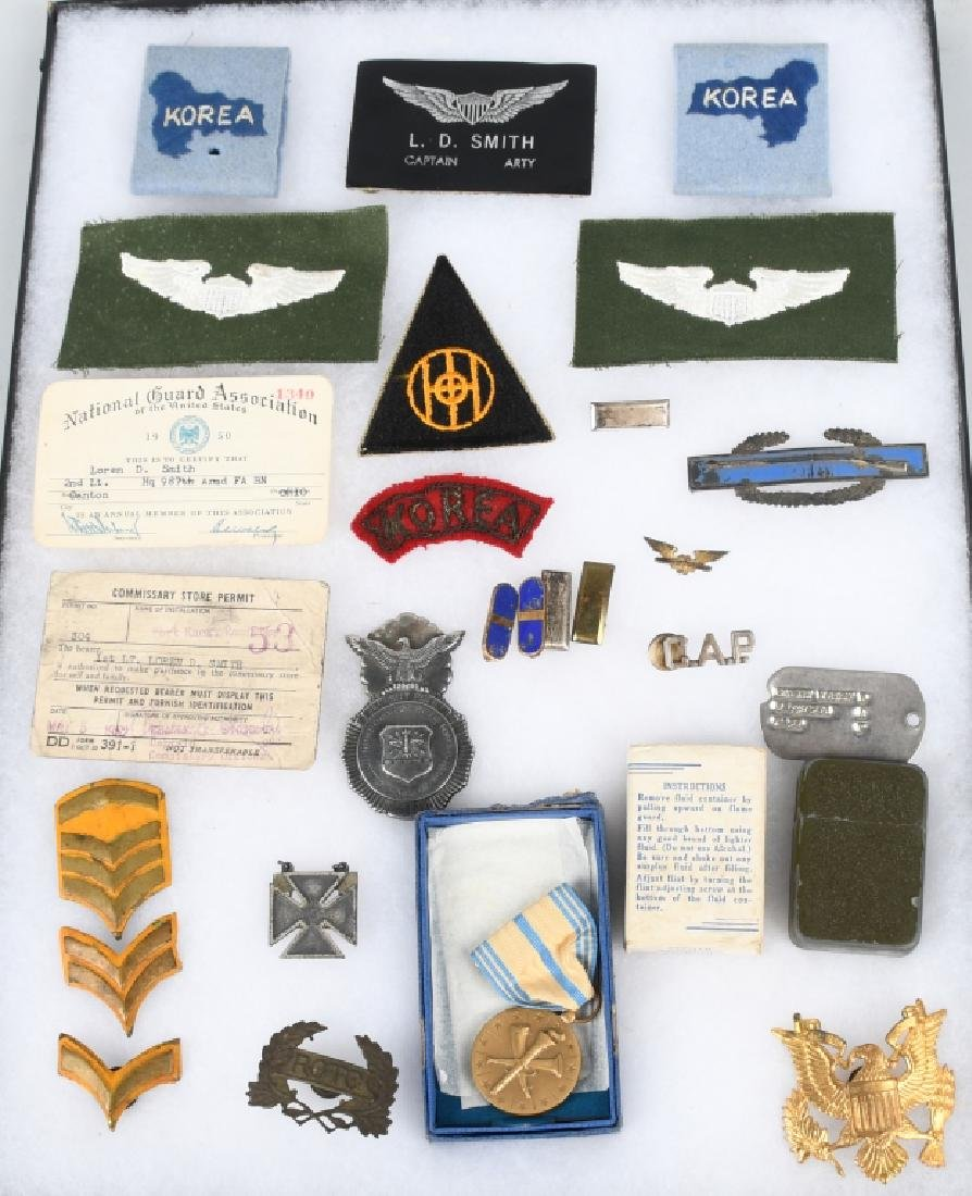 KOREAN WAR IDED GROUP PATCHES AF POICE BADGE ETC