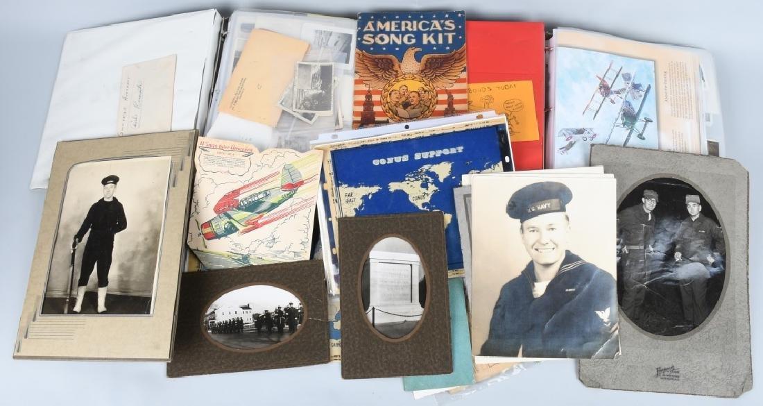 WWII - KOREA 2 LARGE BINDERS - PHOTOS & EPHEMERA
