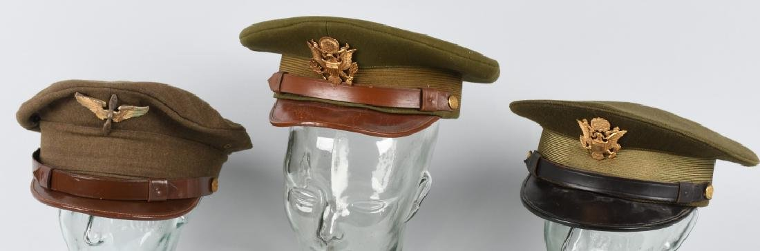 WWII U.S. ARMY OFFICER'S VISOR HAT LOT (3)