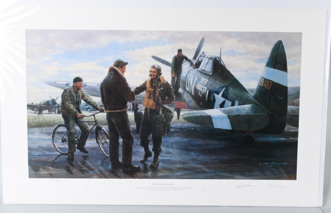 WWII AVIATION PRINT SIGNED ACE WALKER MAHURIN