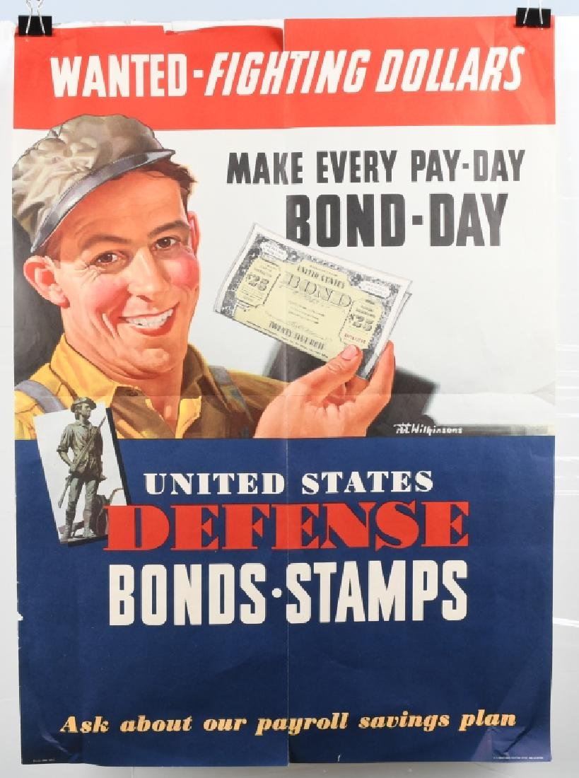 "WWII US ""WANTED FIGHTING DOLLARS"" BOND POSTER 1942"