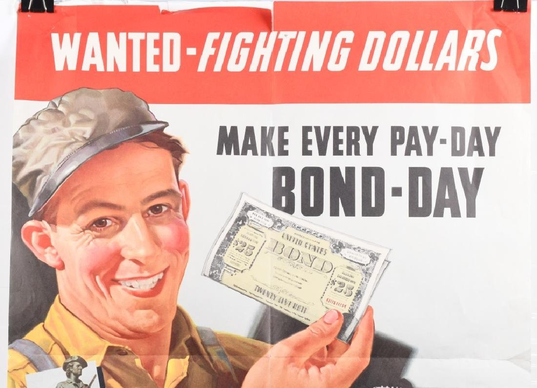 "WWII US ""WANTED FIGHTING DOLLARS"" BOND POSTER 1942 - 2"