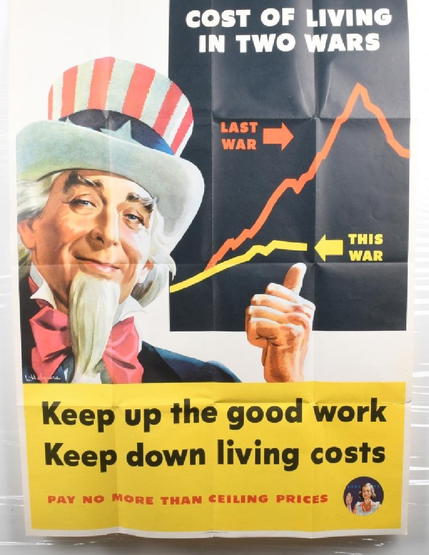 WWII U.S. UNCLE SAM COST OF LIVING POSTER 1944