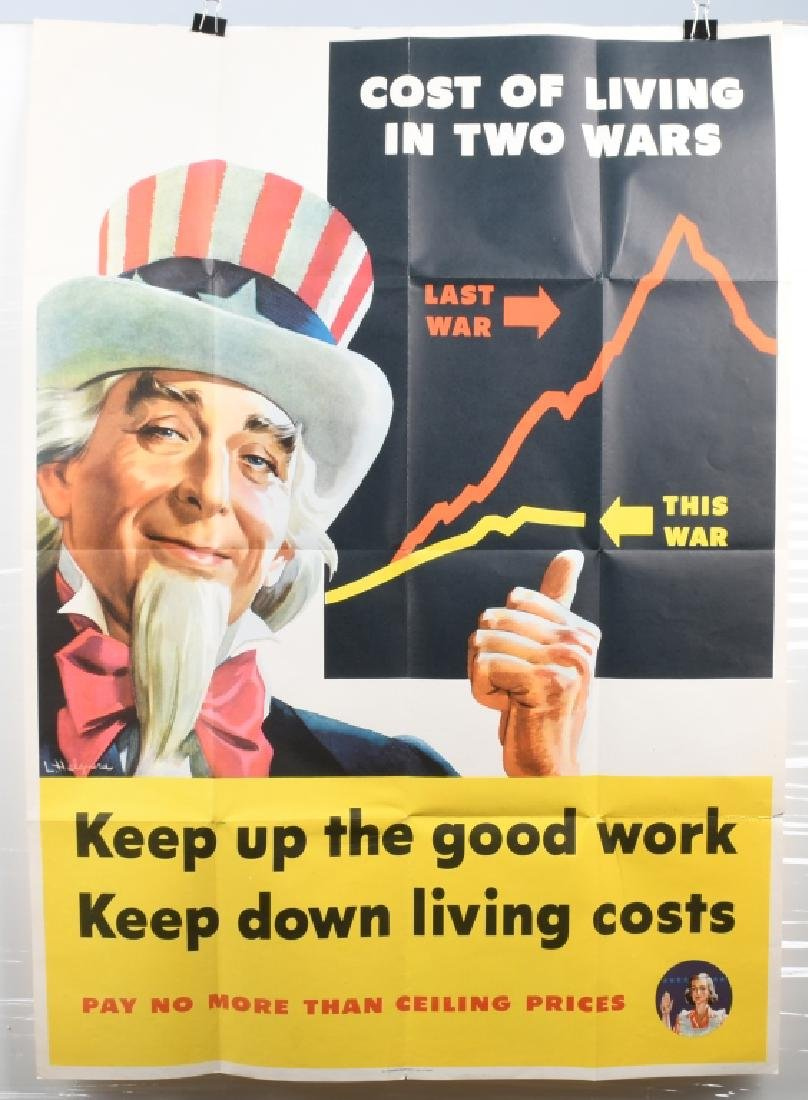 WWII U.S. UNCLE SAM COST OF LIVING POSTER 1944 - 2