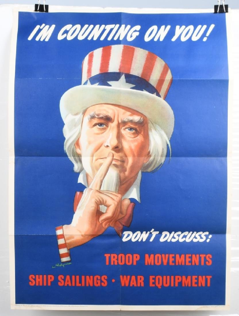 """WWII U.S. UNCLE SAM """"DON'T DISCUSS TROOP.. POSTER"""