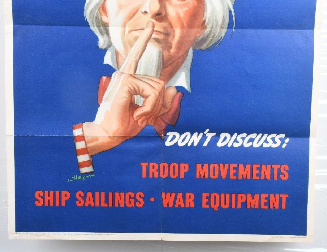 """WWII U.S. UNCLE SAM """"DON'T DISCUSS TROOP.. POSTER - 3"""