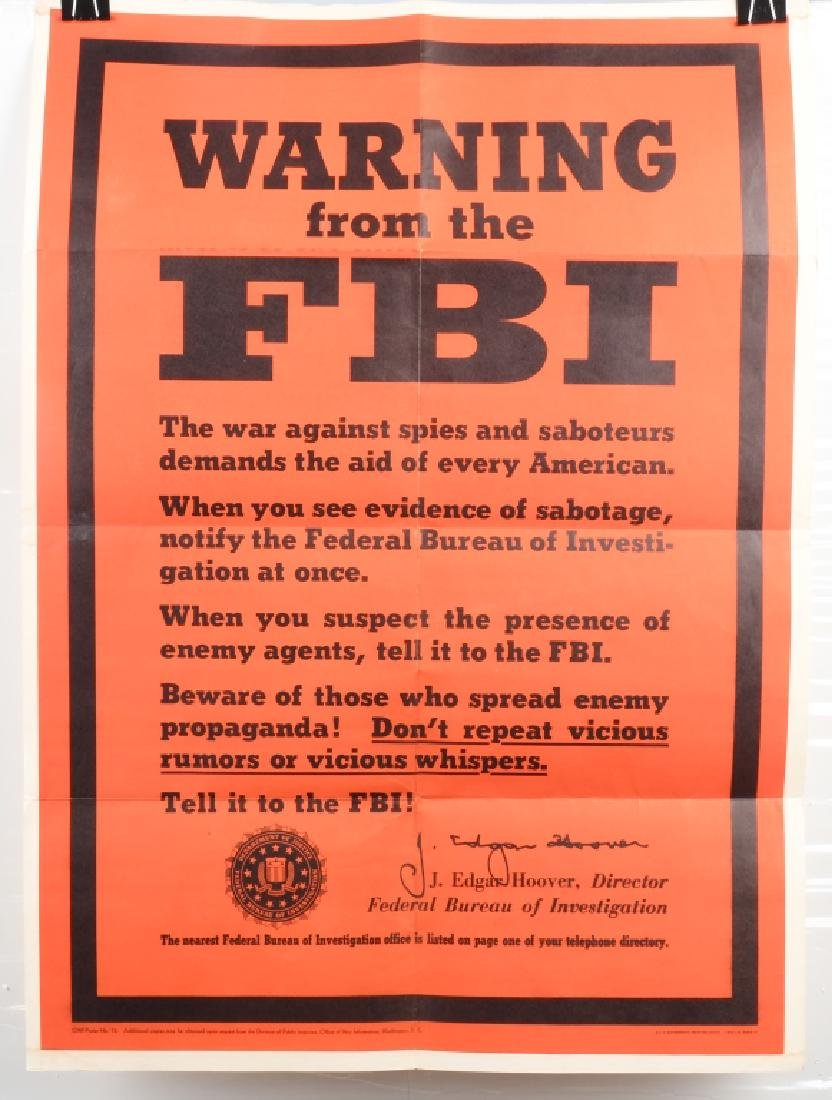 WWII U.S. POSTER- WARNING FROM THE F.B.I. 1943
