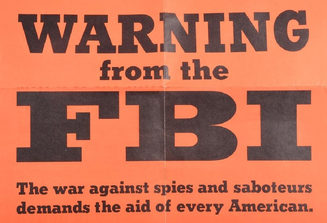 WWII U.S. POSTER- WARNING FROM THE F.B.I. 1943 - 2