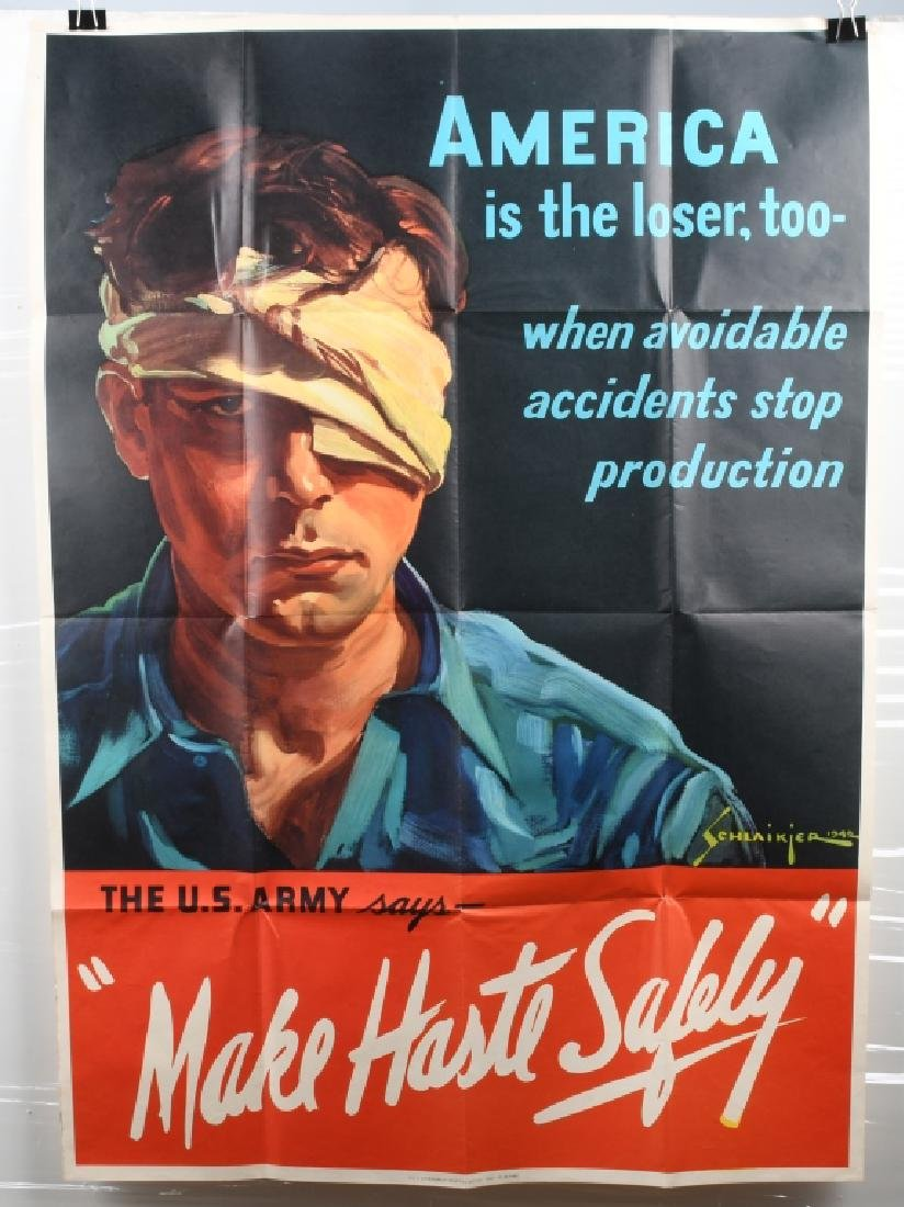 WWII U.S. POSTER WORKER SAFETY POSTER 1942