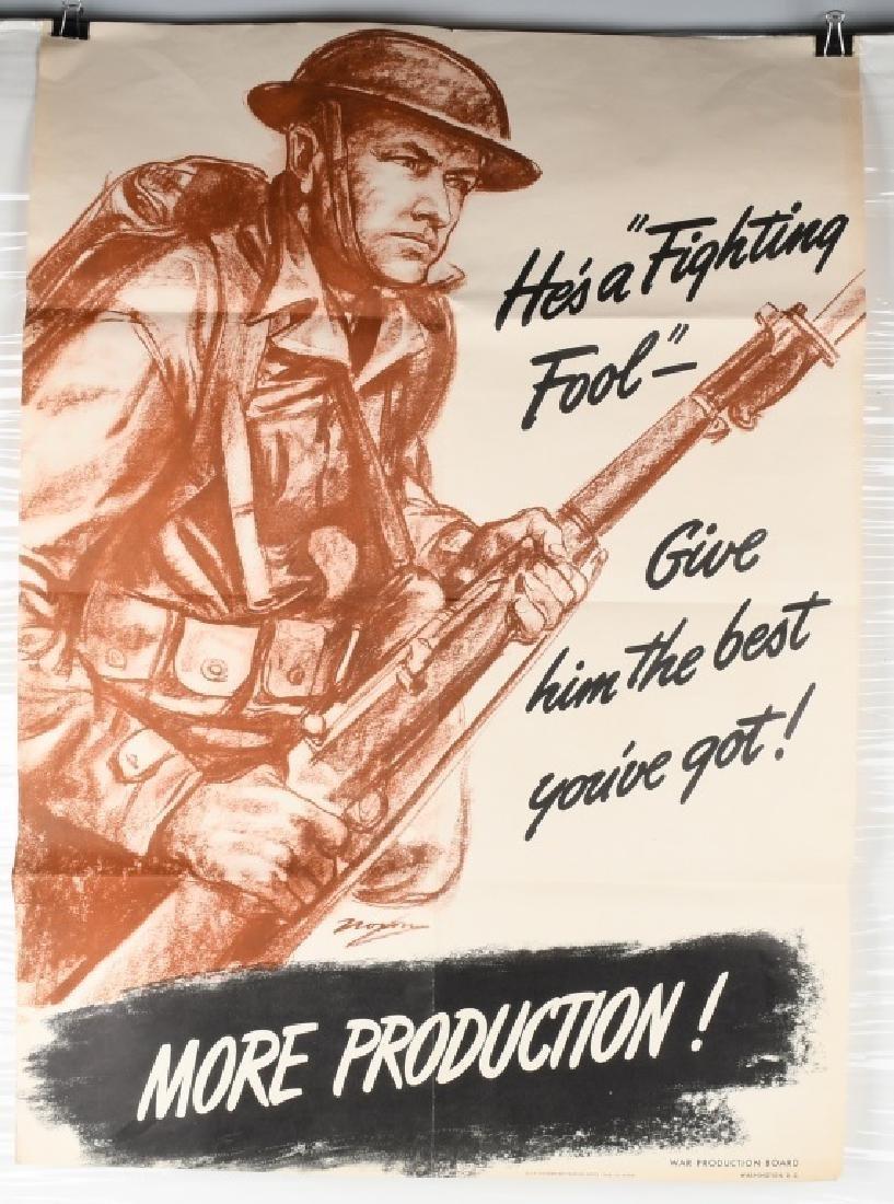 WWII U.S. POSTER -HE'S A FIGHTING FOOL - WAR PROD.