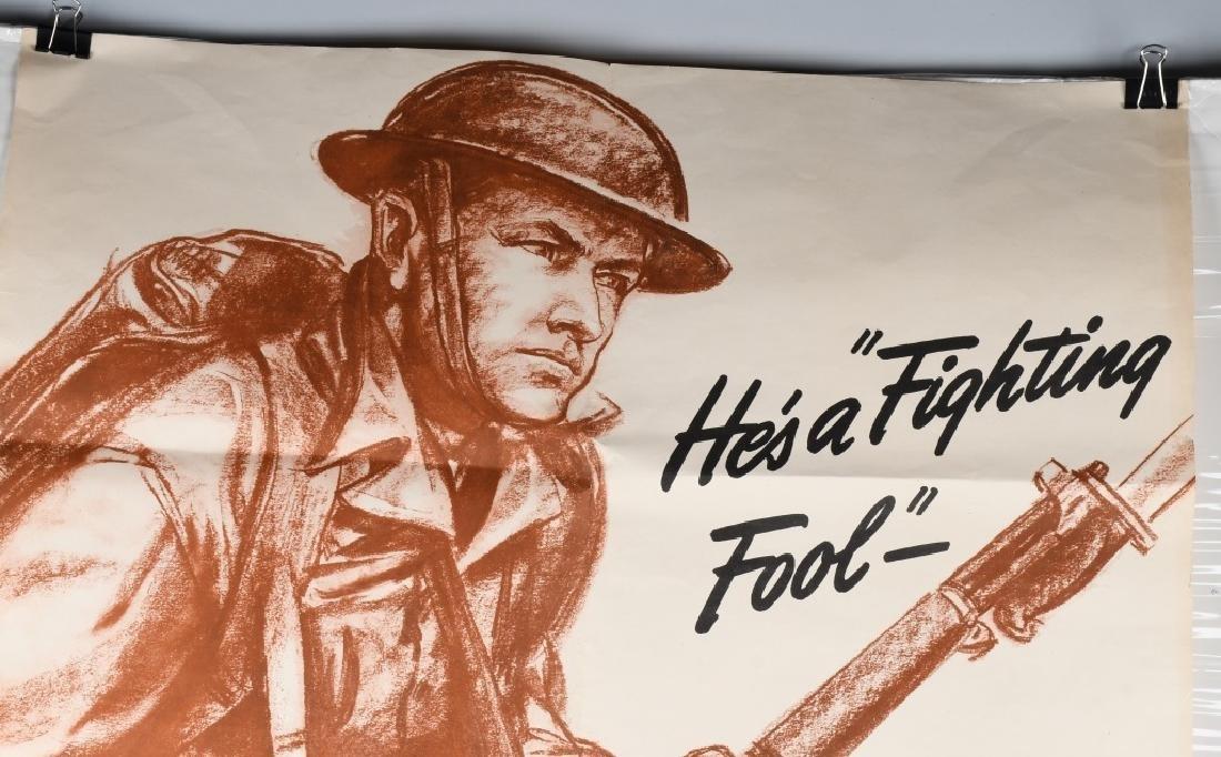 WWII U.S. POSTER -HE'S A FIGHTING FOOL - WAR PROD. - 2