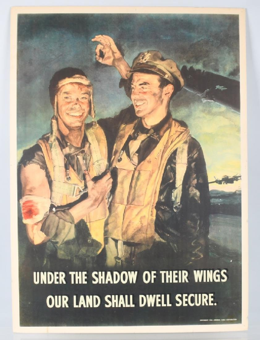 """WWII U.S. POSTER """"UNDER THE SHADOW OF THEIR WINGS"""""""