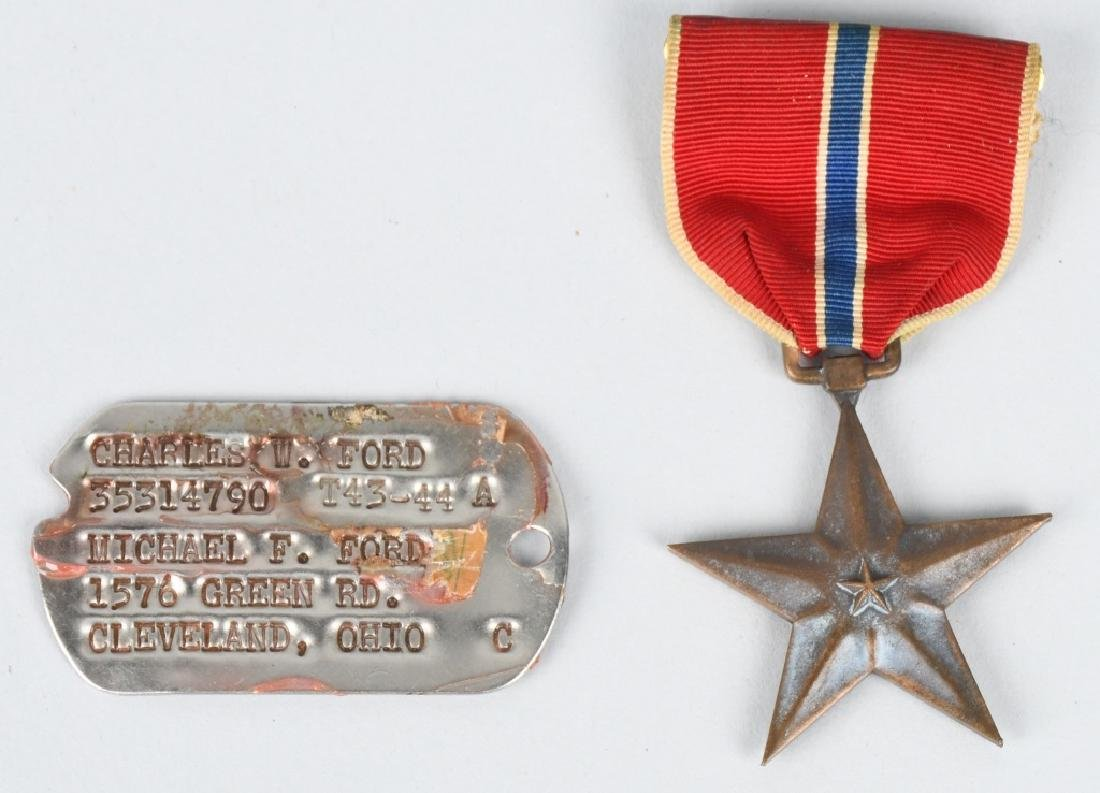 WWII U.S. ENGRAVED BRONZE STAR & DOG TAGS