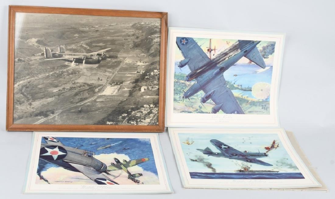 WWII U.S. AAC LARGE PHOTO B-24 BOMBER + 12 LITHOS