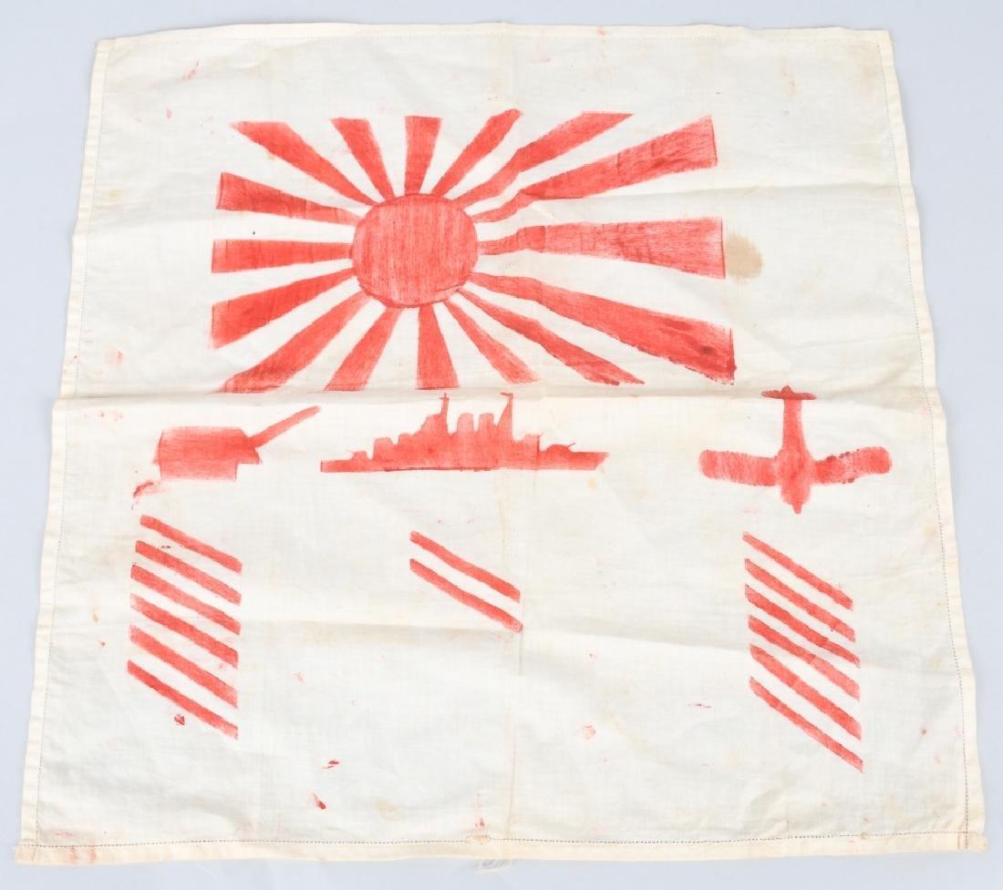WWII U.S. SAILOR DECORATED JAPANESE KILL FLAG