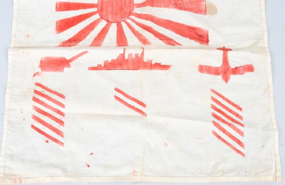 WWII U.S. SAILOR DECORATED JAPANESE KILL FLAG - 3