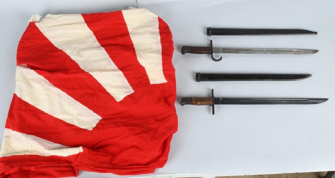 WWII JAPANESE RISING SUN FLAG & ARISAKA BAYONETS