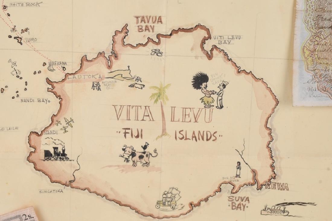 WWII US FIJI ISLAND SOLDIER ART MAPS SHORT SNORTER - 8